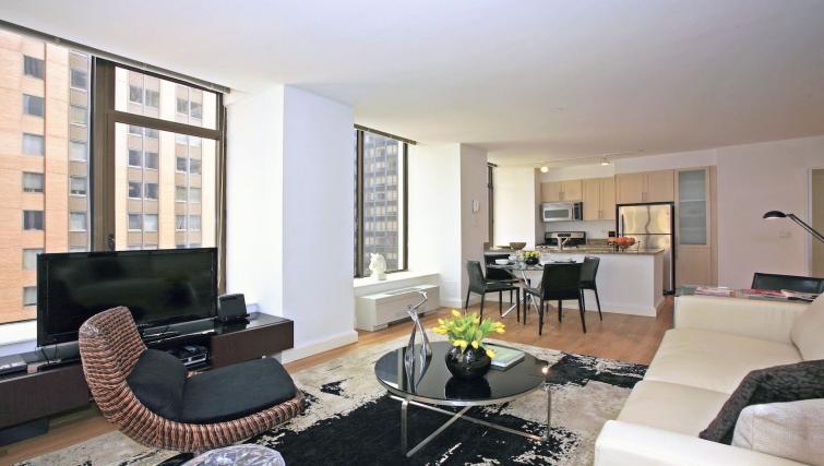 Sleek living area at Hanover Square Apartments
